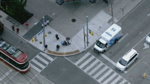 A 24-year-old cyclist has minor injuries after a collision near Dundas and Bay streets, Toronto police say.