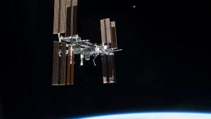 This July 19, 2011 photo of the International Space Station was taken from the space shuttle Atlantis. (NASA via AP)