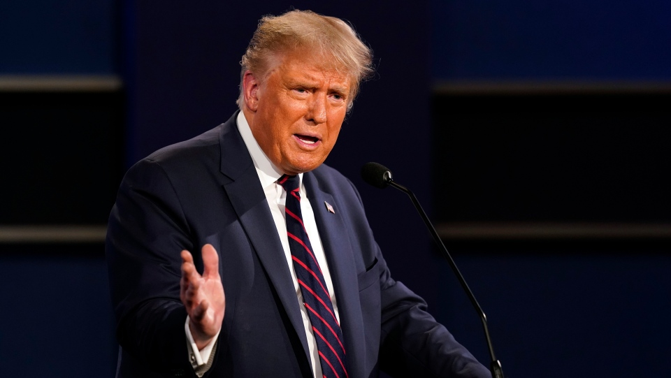 President Donald Trump speaks during the first presidential debate with Democratic presidential candidate former Vice President Joe Biden Tuesday, Sept. 29, 2020, at Case Western University and Cleveland Clinic, in Cleveland. (AP Photo/Patrick Semansky)