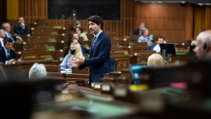 Prime Minister Justin Trudeau rises during Question Period in the House of Commons on Parliament Hill in Ottawa on Tuesday, Sept. 29, 2020. THE CANADIAN PRESS/Justin Tang
