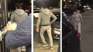 A suspect in an assault at a convenience store in Flemingdon Park is shown in these surveillance camera images. (Toronto Police Service)
