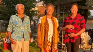 Members of Nadia Lloyd's family are shown at an outdoor Thanksgiving gathering last weekend in Belleville, Ont., in this September 2020 handout photo. THE CANADIAN PRESS/HO - Nadia Lloyd