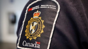 FILE - A Canada Border Services Agency (CBSA) patch is seen on an officer in Calgary, Thursday, Aug. 1, 2019. (Jeff McIntosh/THE CANADIAN PRESS)