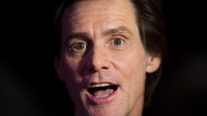 Actor Jim Carrey speaks to reporters as he arrives for the Just for Laughs awards show at the annual comedy festival in Montreal, Friday, July 28, 2017. THE CANADIAN PRESS/Graham Hughes