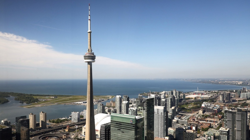 The CN Tower is pictured in Toronto, Wednesday, June 26, 2019. The CN Tower opened 43 years ago today THE CANADIAN PRESS/Colin Perke