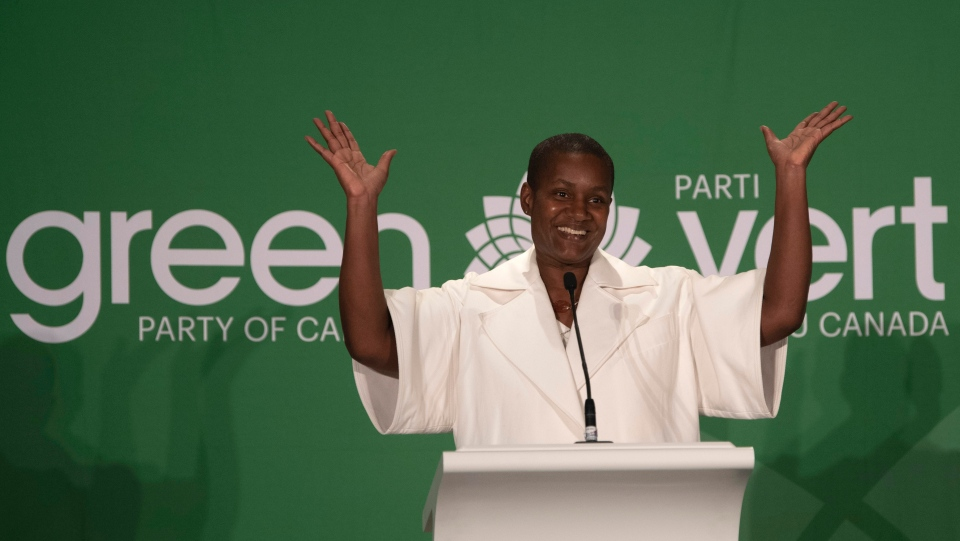New Green party leader Annamie Paul celebrates after speaking at the leadership announcement in Ottawa, Saturday October 3, 2020. Paul succeeds Elizabeth May, who stepped down last fall after leading the party for 13 years. THE CANADIAN PRESS/Adrian Wyld