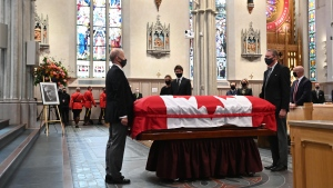 Prime Minister Justin Trudeau looks on during the state funeral service for former Canadian prime minister John Turner at St. Michael's Cathedral Basilica in Toronto on Tuesday, October 6, 2020. THE CANADIAN PRESS/Nathan Denette