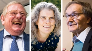 This combination of 2020 and 2015 photos shows, from left, Reinhard Genzel, astrophysicist at the Max Planck Institute for Extraterrestrial Physics; Andrea Ghez, professor of physics and astronomy at UCLA, and Roger Penrose, of the University of Oxford. On Tuesday, Oct. 6, 2020, they shared the Nobel Prize in Physics for advancing our understanding of black holes. (Matthias Balk/dpa, Elena Zhukova/UCLA, Danny Lawson/PA via AP)