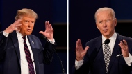 In this combination image of two photos showing both U.S. President Donald Trump, left, and former Vice President Joe Biden during the first presidential debate Tuesday, Sept. 29, 2020, at Case Western University and Cleveland Clinic, in Cleveland, Ohio. (AP Photo/Patrick Semansky)