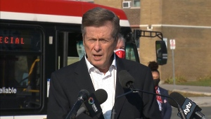 Mayor John Tory speaks with reporters Friday October 9, 2020.