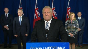 Premier Doug Ford is shown during a news conference at Queen's Park on Oct. 9.