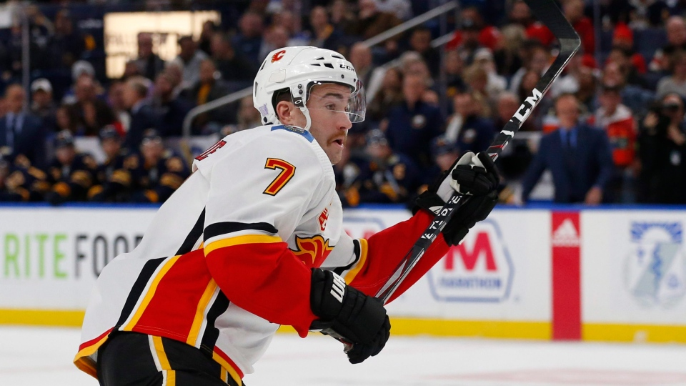 Calgary Flames defenseman TJ Brodie (7) skates during the second period of an NHL hockey game against the Buffalo Sabres, Wednesday, Nov. 27, 2019, in Buffalo, N.Y. (AP Photo/Jeffrey T. Barnes)