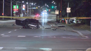 One person is dead and another person is in custody after a three-vehicle collision in Mississauga early Saturday morning.