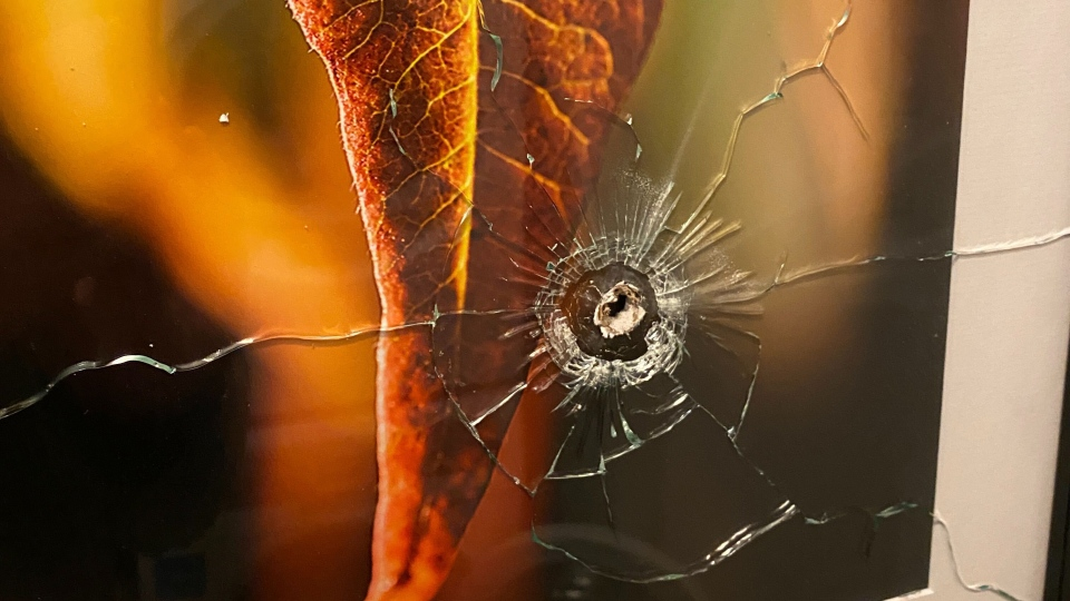 A bullet hole is seen inside a Toronto condo unit on Oct. 13, 2020. (Twitter/@lucastimmons)