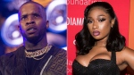 Tory Lanez performs at HOT 97 Summer Jam 2019 in East Rutherford, N.J. on June 2, 2019, left, and Megan Thee Stallion attends the 5th annual Diamond Ball benefit gala in New York on Sept. 12, 2019.  (Photos by Scott Roth, left, Charles Sykes/Invision/AP)