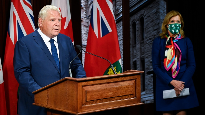 Ontario Premier Doug Ford makes an announcement with Health Minister Christine Elliott during the COVID-19 pandemic in Toronto on Thursday, September 24, 2020. THE CANADIAN PRESS/Nathan Denette