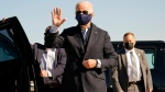 Democratic presidential candidate former Vice President Joe Biden arrives to board his campaign plane at the New Castle Airport in New Castle, Del., Sunday, Oct. 18, 2020, en route to Durham, N.C. (AP Photo/Carolyn Kaster)