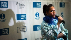 Lido Pimienta, 2017 winner of the Polaris Music Prize takes questions after accepting her award in Toronto on Monday, September 18, 2017. THE CANADIAN PRESS/Chris Donovan