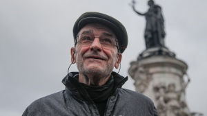 "Josu Urrutikoetxea, a former leader of Basque separatist militant group ETA, speaks in Paris, Thursday, Oct. 15, 2020. Josu Urrutikoetxea, the last known chief of ETA, the now-extinct Basque separatist militant group, goes on trial Monday Oct. 19, 2020 in Paris for terrorism charges that he deems ""absurd"" because of his role in ending a conflict that claimed hundreds of lives and terrorized Spain for half a century. (AP Photo/Michel Euler)"