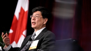 Ambassador of China to Canada Cong Peiwu speaks as part of a panel at the Ottawa Conference on Security and Defence in Ottawa, on Wednesday, March 4, 2020. THE CANADIAN PRESS/Justin Tang