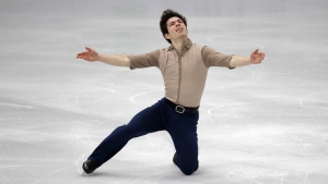 Canada's Keegan Messing performs during the men's single short program competition of the ISU Four Continents Figure Skating Championships in Seoul, South Korea, Friday, Feb. 7, 2020. (AP Photo/Lee Jin-man)