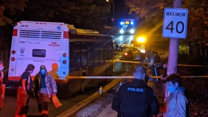 Police are on scene at a stabbing in North York that left a man with serious injuries. (CP24/Adam Frisk)