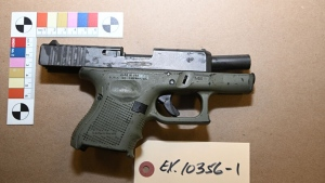 A Glock handgun seized on Oct. 21, 2020 is shown in a handout image. (TPS)