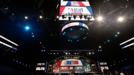 Before the start of the NBA basketball draft, Thursday, June 20, 2019, at the Barclays Center in New York. (AP Photo/Frank Franklin II)