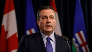 Alberta Premier Jason Kenney updates media on measures taken to help with COVID-19, in Edmonton on Friday, March 20, 2020. THE CANADIAN PRESS/Jason Franson