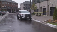 Police investigate a suspicious death in Markham, Ont. on Oct. 22, 2020.