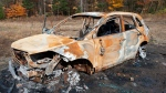 A burned-out Acura SUV belonging to Helen Sedo is seen north of Huntsville in a police handout image. (YRP)