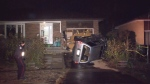 A man is in hospital after a vehicle struck a house overnight in Scarborough.