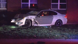 Toronto police are searching for a driver who crashed into a school early Sunday morning.
