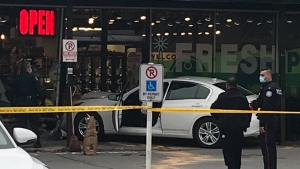 Police are investigating after a car crashed into a store in North York. (Twitter/@Canadabuster)