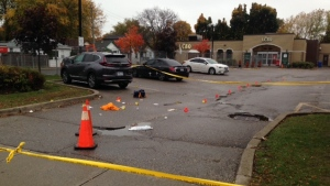 Police are investigating a fatal shooting in an LCBO parking lot in Scarborough on Sunday. (Cam Woolley/ CP24)