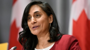 Minister of Public Services and Procurement Anita Anand speaks during a news conference on the COVID-19 pandemic on Parliament Hill in Ottawa, on Friday, Sept. 25, 2020. THE CANADIAN PRESS/Justin Tang