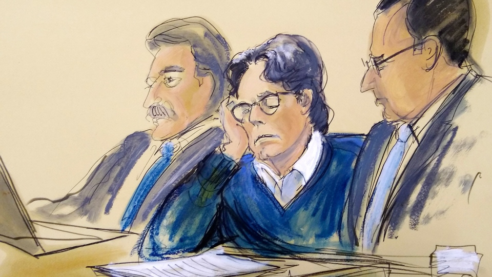In this June 18, 2019 file courtroom artist's sketch, defendant Keith Raniere, center, sits with attorneys Paul DerOhannesian, left, and Marc Agnifilo during closing arguments at Brooklyn federal court in New York. Prosecutors, in court papers filed Friday, Aug. 28, 2020, say communications from jail show the leader of a cult-like self-improvement group in upstate New York has no remorse over his conviction last year on charges he turned some of his followers into sex slaves. (Elizabeth Williams via AP, File)