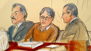 In this Tuesday, May 7, 2019, file courtroom drawing, defendant Keith Raniere, center, leader of the secretive group NXIVM, is seated between his attorneys Paul DerOhannesian, left, and Marc Agnifilo during the first day of his sex trafficking trial. (Elizabeth Williams via AP, File)
