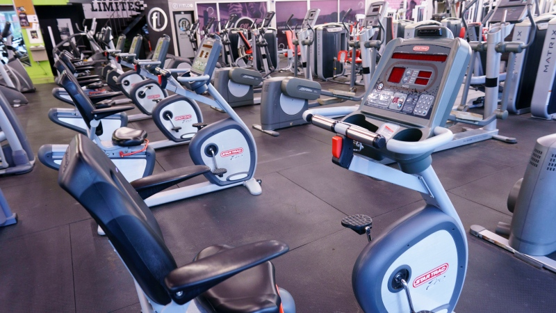 An empty gym is seen in Montreal, on Monday, October 26, 2020. THE CANADIAN PRESS/Paul Chiasson