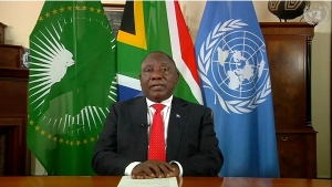 In this frame grab made from UNTV, South Africa's President Cyril Ramaphosa speaks during a pre-recorded message which was played inside the United Nations General Assembly Hall, Thursday, Oct. 1, 2020, at UN headquarters, in New York. (UNTV Via AP )