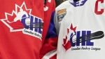 Team Red and Team White logos are shown following the CHL Top Prospects Game in Hamilton, Ont. on January 16, 2020. THE CANADIAN PRESS/Peter Power