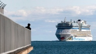 The AIDAdiva cruise ship, on a 10-day trip from New York to Montreal, arrives in Halifax on Friday, Oct. 19, 2018. THE CANADIAN PRESS/Andrew Vaughan