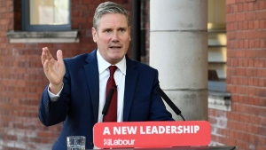 In this Tuesday, Sept. 22, 2020 file photo, Britain's Labour leader Keir Starmer delivers his keynote speech, during the party's online conference from the Danum Gallery, Library and Museum in Doncaster, England. (Stefan Rousseau/Pool Photo via AP, file)
