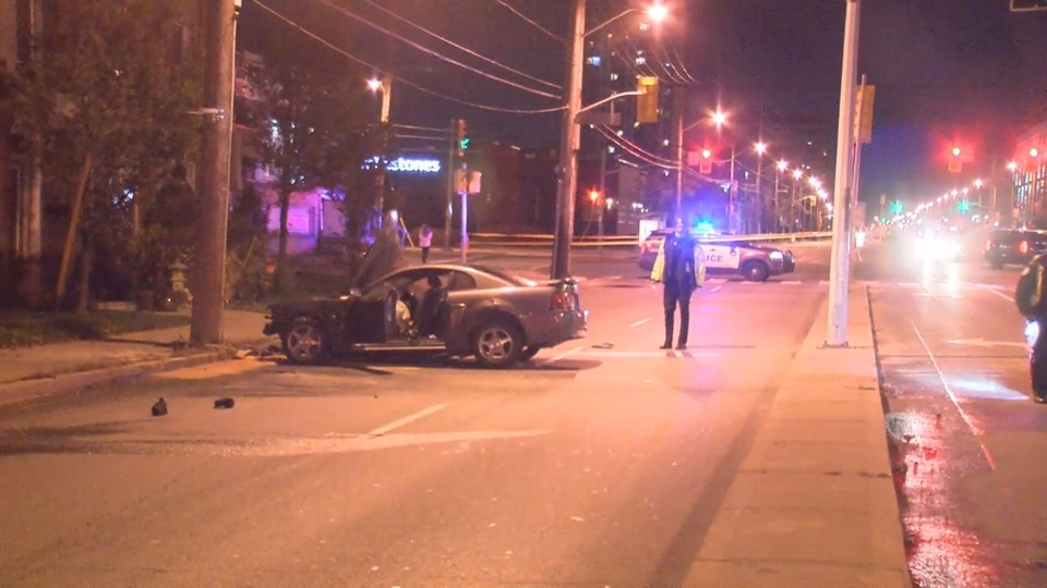 One woman was injured following a crash on The Queensway on Friday night.
