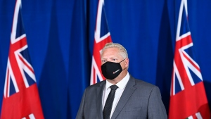 Ontario Premier Doug Ford listens to questions from the media at Queen's Park during the COVID-19 pandemic in Toronto on Monday, September 28, 2020. THE CANADIAN PRESS/Nathan Denette