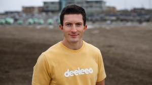 Olympic gymnast turned entrepreneur Jackson Payne is pictured in Edmonton, on Wednesday October 21, 2020. Payne has started a crowdsourced delivery company called Deeleeo in Edmonton. THE CANADIAN PRESS/Jason Franson