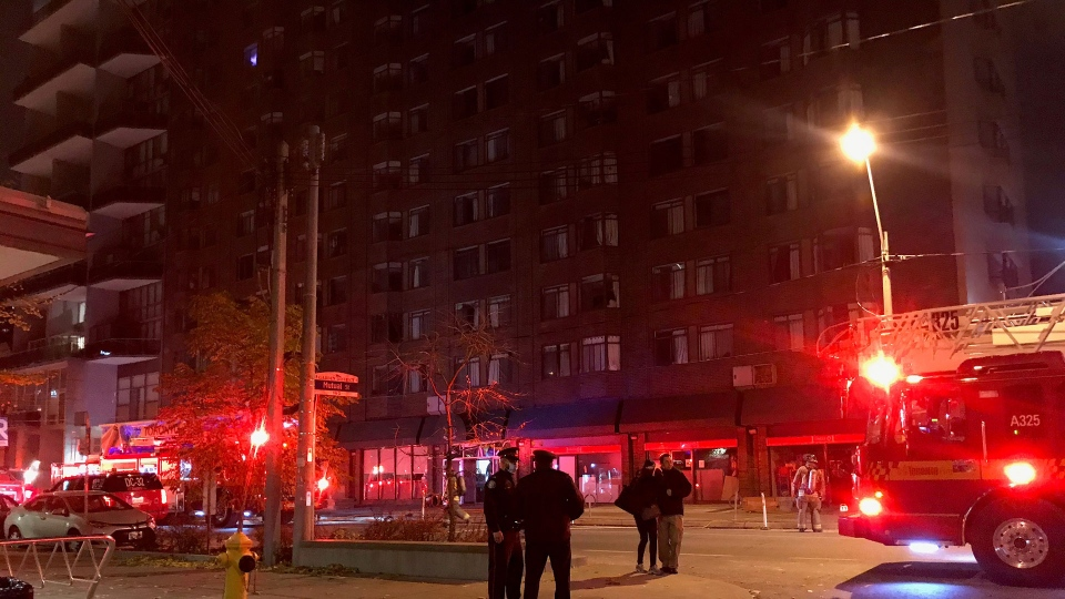 Toronto fire responds to a three-alarm electrical fire at 96 Gerrard Street East Monday November 2, 2020. (Mike Nguyen /CP24)