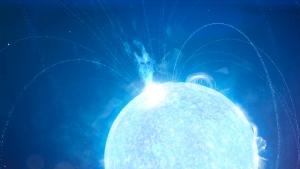 This image from video animation provided by NASA in November 2020 depicts a powerful X-ray burst erupting from a magnetar – a supermagnetized version of a stellar remnant known as a neutron star. A radio burst detected April 28, 2020, occurred during a flare-up like this on a magnetar called SGR 1935. The radio signal was more powerful than any previously seen in our galaxy. (Chris Smith (USRA)/NASA/Goddard Space Flight Center via AP)