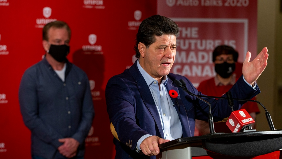 Unifor National President Jerry Dias and the Unifor Bargaining Committee representatives announce a new tentative agreement with GM on behalf of 1,700 members who work in St. Catharines, Oshawa and Woodstock in advance of tonight 11:59 pm strike deadline on Thursday, November 5, 2020 in Toronto.THE CANADIAN PRESS/Carlos Osorio