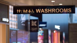 A sign for washrooms at Yorkdale Mall in Toronto on Tuesday December 11, 2018. THE CANADIAN PRESS/Frank Gunn